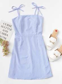 Knot Shoulder Striped Cami Dress
