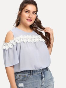 Plus Lace Trim Open Shoulder Blouse