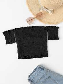 Off Shoulder Pleated Crop Top