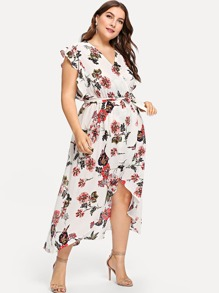 Plus Tie Waist Floral Print Dip Hem Dress