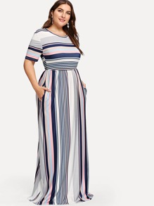 Plus Contrast Striped Hidden Pocket Dress