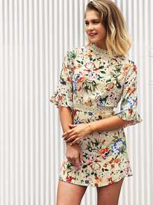 Lace Panel Fluted Sleeve Floral Dress