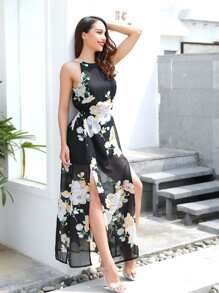 Open Back Split Side Floral Dress