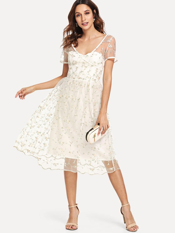 7ac63808ab3 Sheer Mesh Floral Embroidered Dress