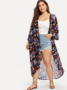 Plus Feather Print Open Front Cardigan