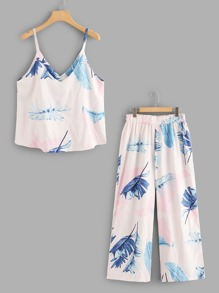 Plus Tropical Print Cami With Pants