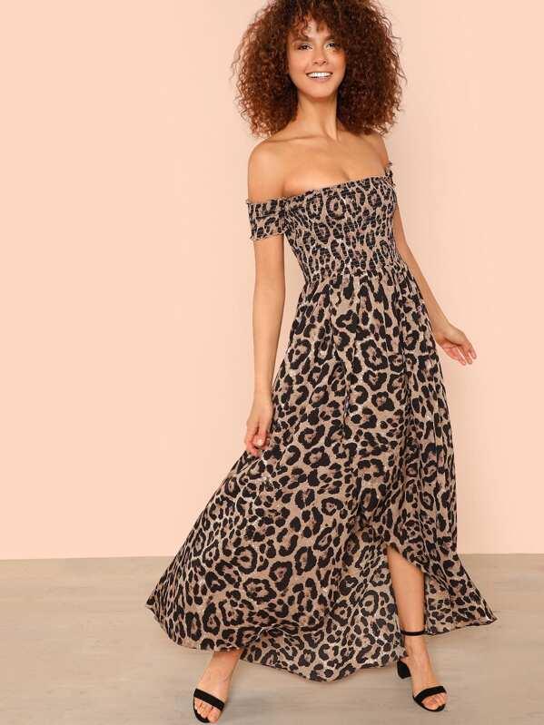 49907e21115 Off Shoulder Shirred Leopard Dress