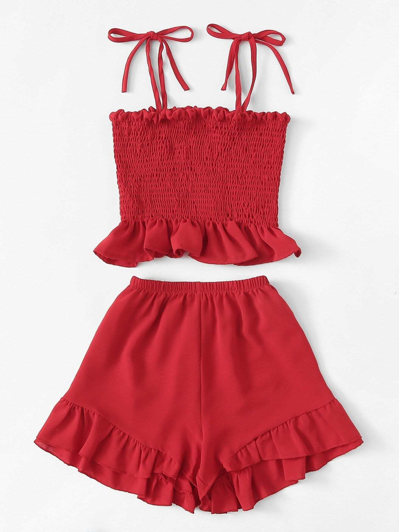 Frill Trim Pleated Cami Top With Shorts