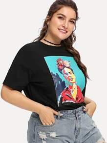 Plus 3D Flower Applique Portrait Tee