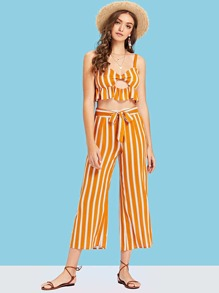Striped Cut Out Front Crop Top and Belted Palazzo Pants Set