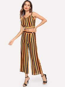 Striped Cami Top and Wide Leg Pants Set