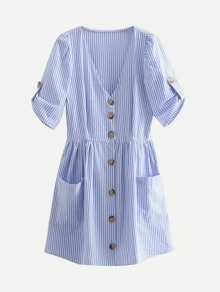 Button Through Smock Striped Dress With Pocket