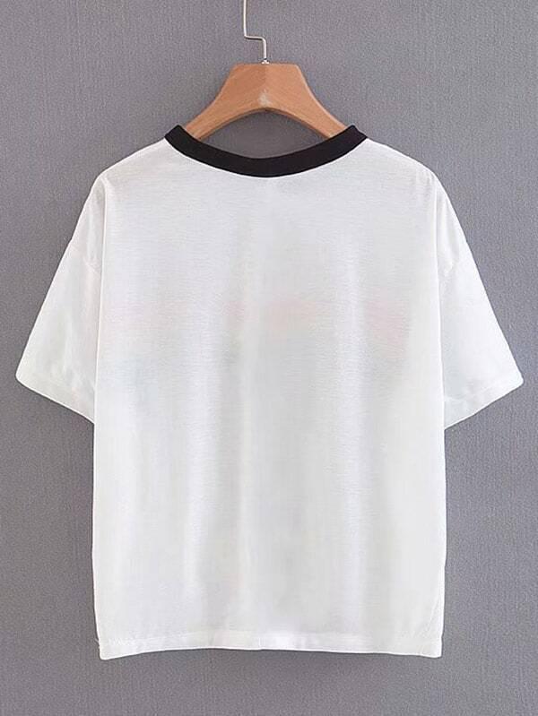 T Shirt Mit Regenbogen Streifen Und Knoten Auf Dem Saum Shein