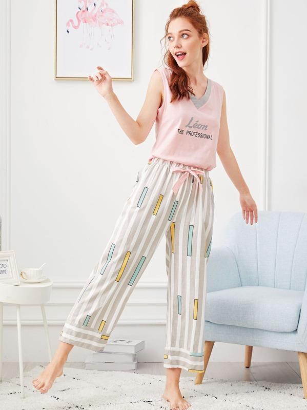 a61fe2091d Letter Print Striped Pajama Set | SHEIN