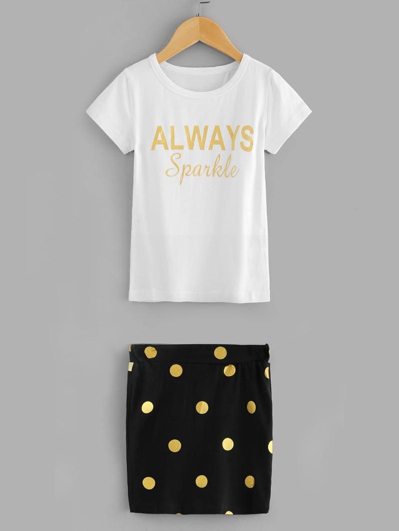 0c99a0671 Camiseta de niñas con estampado de letra con falda de lunares