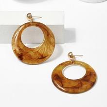 Oval Detail Hoop Earrings