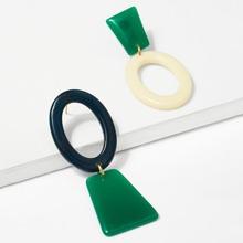 - Geometric Mismatched Hoop Earrings