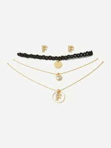 Choker Set 3pcs & Earrings 1pair