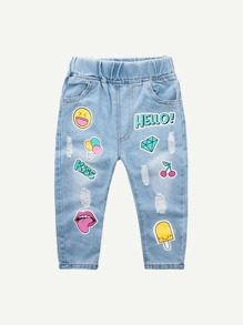 Toddler Girls Letter And Figure Print Destroyed Jeans