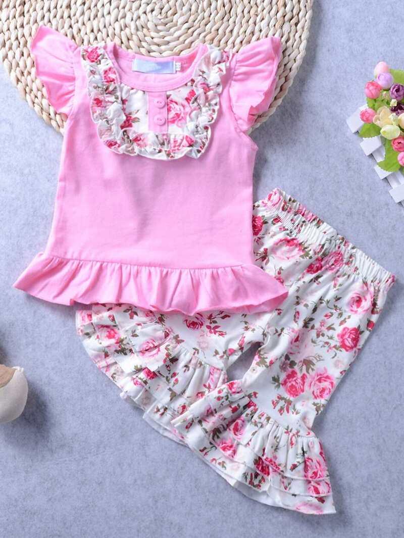 05b4f6f44 Camiseta de niñas bajo fruncido con pantalones con estampado floral