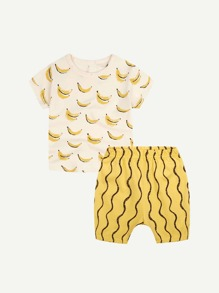 Toddler Boys Banana Print Tee With Striped Shorts