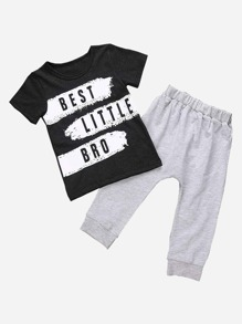 Toddler Boys Letter Print Tee With Plain Pants