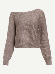 Asymmetrical Shoulder Flecked Sweater