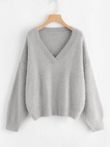 V Neck Drop Shoulder Fuzzy Jumper