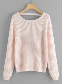 V Cut Back Solid Sweater