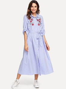 Embroidered Appliques Button Belted Striped Dress
