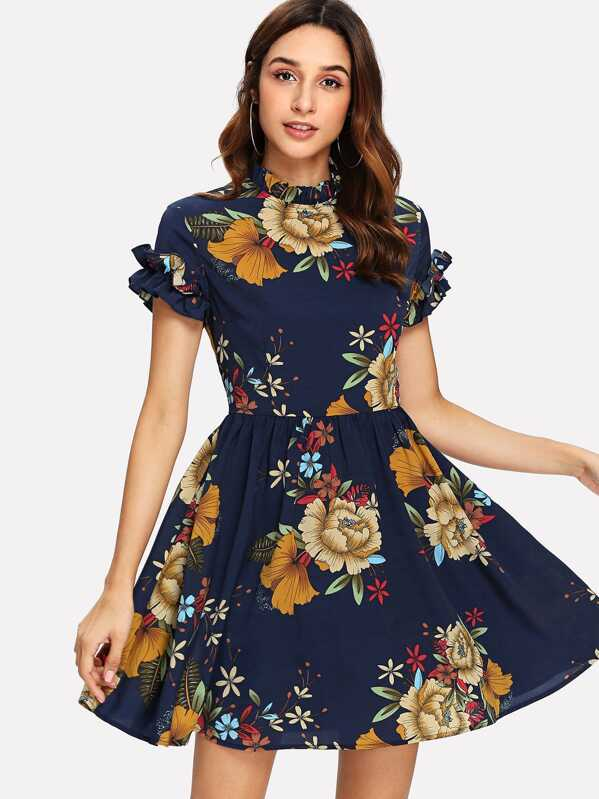 4998214389 Floral Mock Neck Ruffle Dress | SHEIN