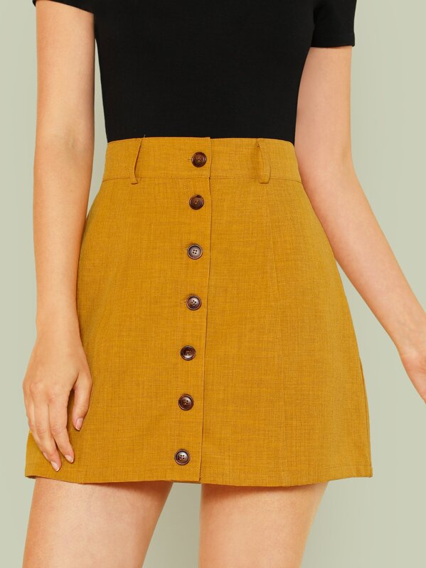 368b957d0 Wide Waistband Button Up Skirt | SHEIN