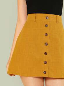 7416634a8 Wide Waistband Button Up Skirt | SHEIN UK
