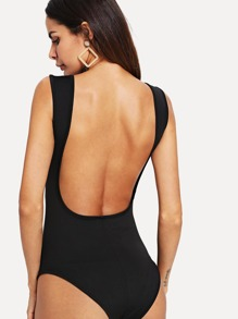 Backless Solid Bodysuit