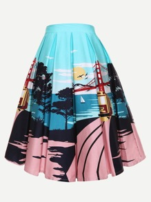 Cartoon Print Circle Skirt