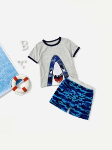 Toddler Boys Shark Print Ringer Tee With Camo Shorts