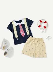 Toddler Boys Tie Print Tee With Shorts