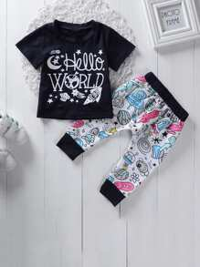 Toddler Boys Letter And Cartoon Print Tee With Pants