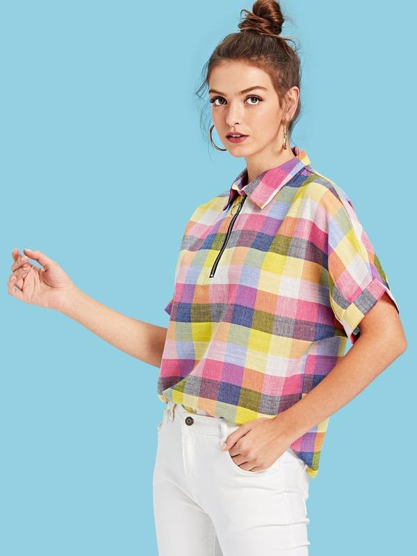 Vêtements Femme Top à manche roulée à carreaux