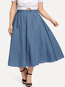 Plus Denim Button Detail Skirt