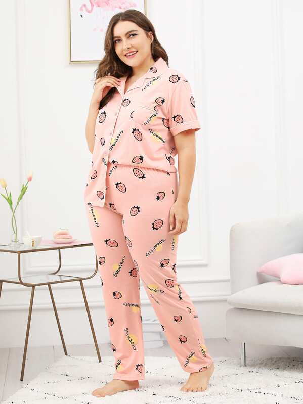 d5223b3fb7 Plus Strawberry & Letter Print Pajama Set -SHEIN(SHEINSIDE)