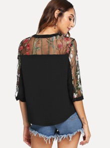 Embroidered Contrast Mesh Button Front Blouse