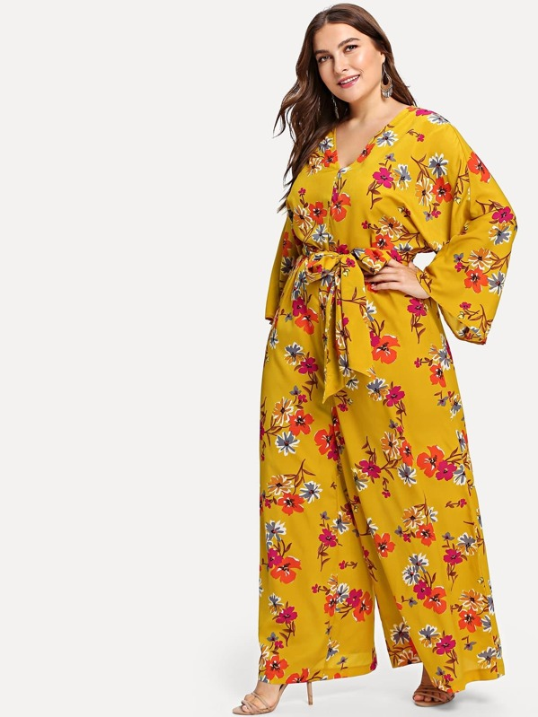 40ac4b1670e0 Plus Bell Sleeve Wide Leg Belted Floral Jumpsuit