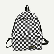 Plaid Detail Metal Ring Backpack