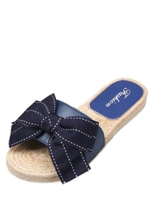 Bow Detail Espadrille Flat Slippers