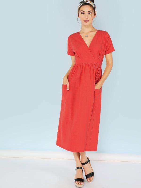 b2e23ce67c Surplice Neck Pocket Patched Slit Dress | SHEIN