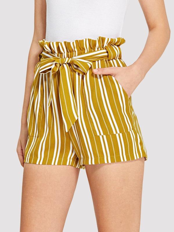 6cfa373453 Belted Frill Waist Vertical-Stripe Shorts   SHEIN