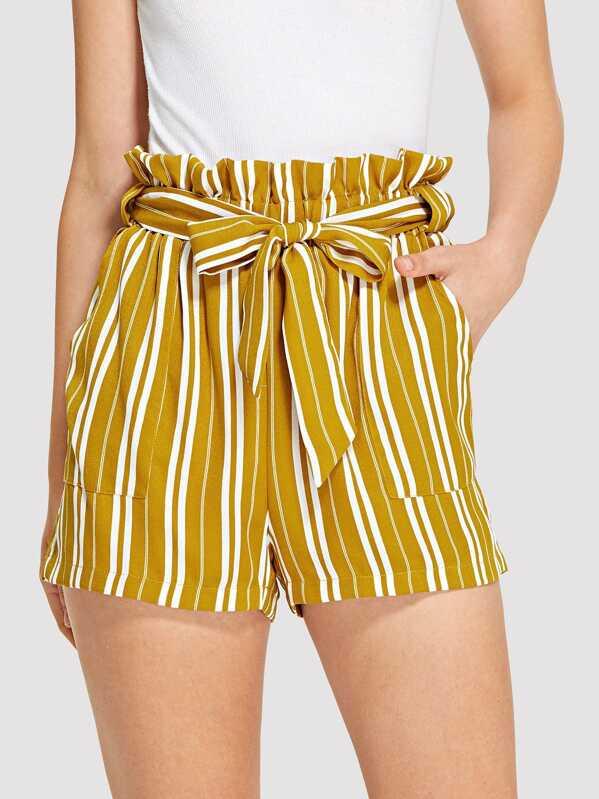 48c115831d Cheap Belted Frill Waist Vertical-Stripe Shorts for sale Australia ...