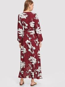 e59bf0999ebb Lantern Sleeve Floral Wrap Dress EmmaCloth-Women Fast Fashion Online