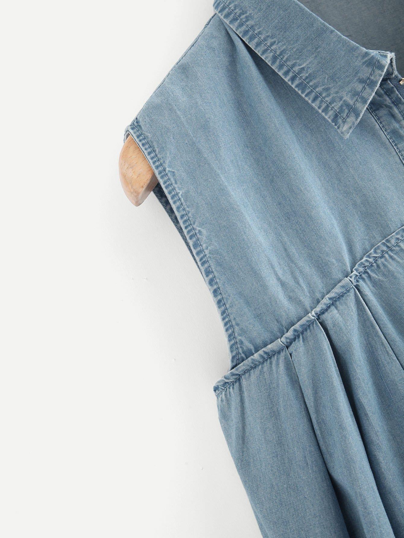 robe en jean ourlet brut avec fermeture clair devant french shein sheinside. Black Bedroom Furniture Sets. Home Design Ideas